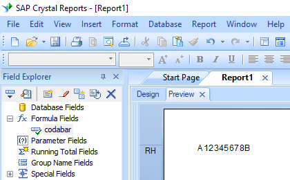 Codabar crystal reports formula field