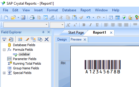 Codabar barcode crystal reports