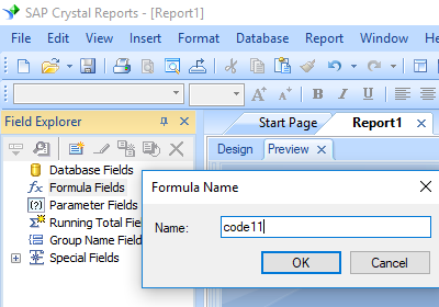 code11 barcode crystal reports create formula