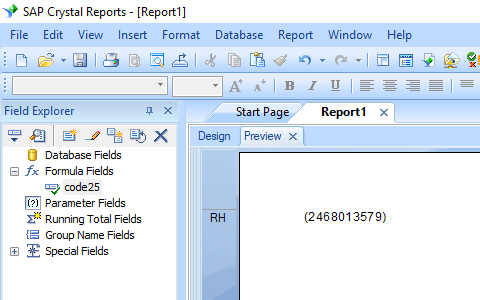 Code25 crystal reports formula field