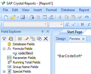 Code39 extended barcode crystal reports formula field