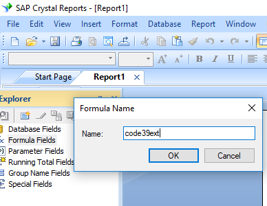 Code39 extended barcode create formula crystal reports