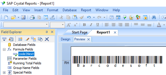 Code39 extended barcode crystal reports