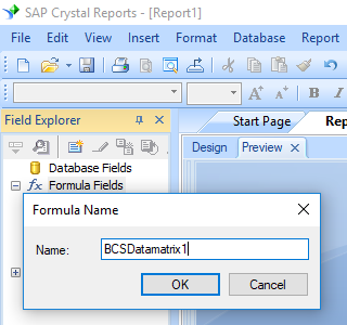data matrix create formula crystal reports
