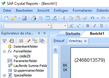 code25 barcode crystal reports formelfelder