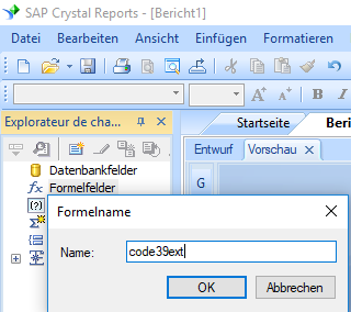 Extended-Code39 barcode erstellen formel crystal reports