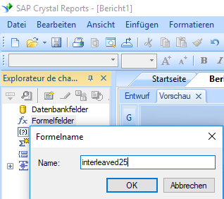 Interleaved 2 aus 5 barcode create formula crystal reports