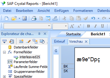 Interleaved 2 aus 5 barcode crystal reports formula field