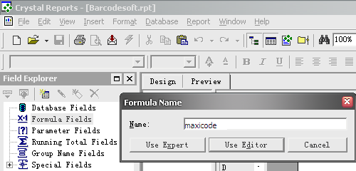 MaxiCode create formula crystal reports
