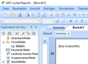 Telepen barcode crystal reports formelfelder