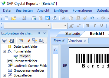 Telepen barcode crystal reports