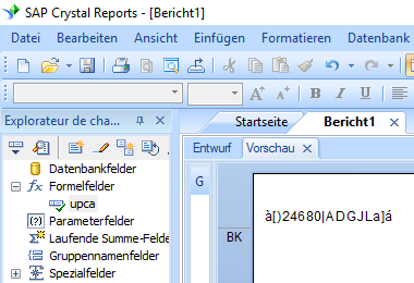 UPCA barcode crystal reports formelfelder