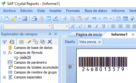 code25 código de barras crystal reports