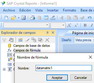 data-matrix crear fórmula crystal reports