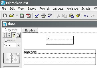 filemaker barcode layout