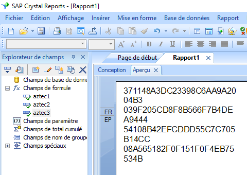 Aztec Code crystal reports champ formule