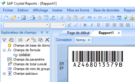 code à barres codabar crystal reports