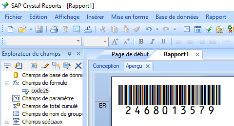 code25 barcode crystal reports