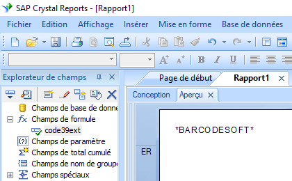 code39 code à barre crystal reports UFL