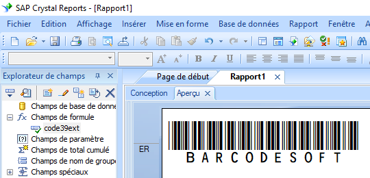 code39 code à barre crystal reports