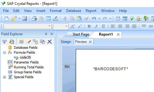 code39 code barres crystal reports champ formule
