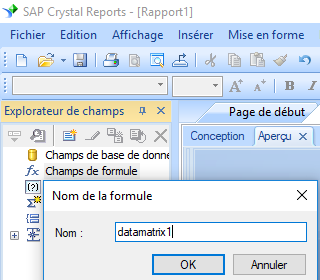 data matrix create formule crystal reports