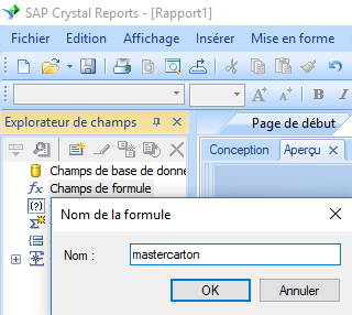 Master Carton Code code barres crystal reports champ formule