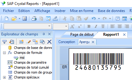 msi code barres crystal reports