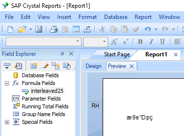 Interleaved 2of5 crystal reports formula field