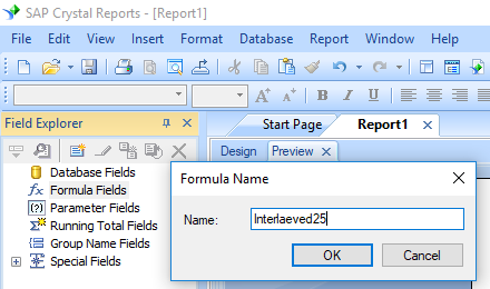 Interleaved 2of5 create formula crystal reports