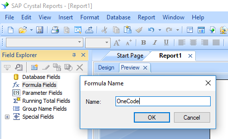onecode barcode crystal reports create formula