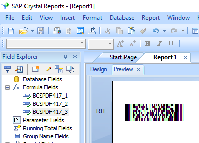 pdf417 create formual crystal reports