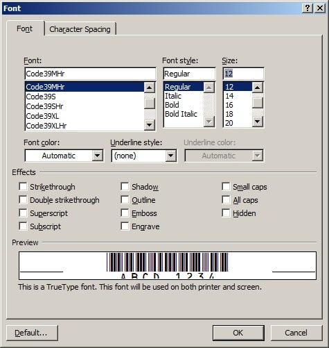 Generate code39 barcodes in MS Excel, MS Access and Crystal